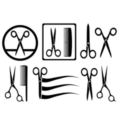 Scissors icons with comb for hair salon vector