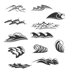 Sea waves icons set vector