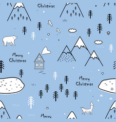 seamless scandinavian pattern with bear fox vector image