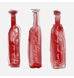 set bottle wine - watercolor bottles hand drawn vector image