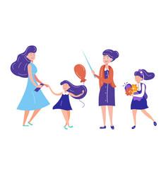 set characters teacher schoolgirl with flowers vector image