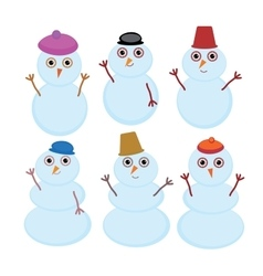Set of cute cartoon funny snowman for winter vector image