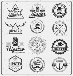 Set of hipster insignia logo design for logo vector