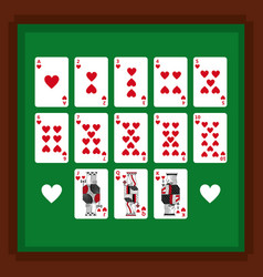 set of poker playing cards of heart suit on green vector image