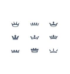 set of royal crowns icons and logos vector image