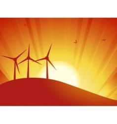 silhouette wind turbines vector image vector image
