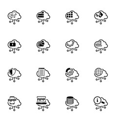 Simple set cloud computing related line icons vector