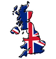 simplified map of united kingdom outline with vector image