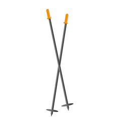 Ski sticks icon cartoon style vector