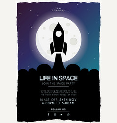 spaceship at night flyer template vector image