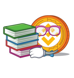 Student with book binance coin mascot catoon vector