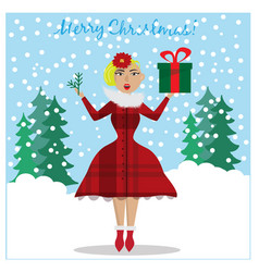 surprised girl holding christmas gift and vector image