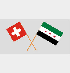 Syrian national coalition and switzerland flags vector