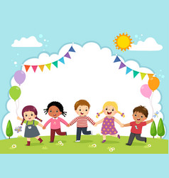 Template with kids holding hands vector