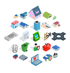 town hall icons set isometric style vector image