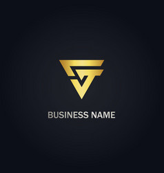 triangle g initial business gold logo vector image