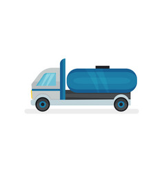 Truck with large blue water tank heavy machine vector
