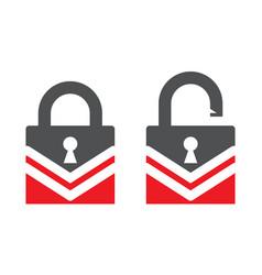 Unlock key and lock closed padlock symbol for app vector