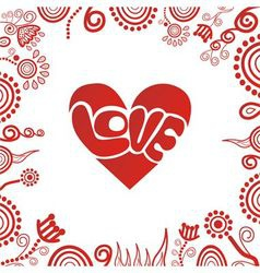 Valentines day card heart love vector image