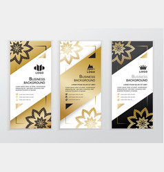 Vertical business gold black white banners vector