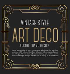 vintage frame art deco style vector image