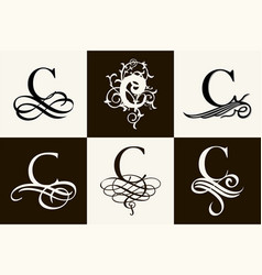 Vintage set capital letter c for monograms vector
