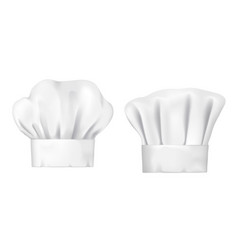 White chef hat and baker toque realistic 3d vector