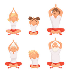 yoga family parents and kids making exercises of vector image