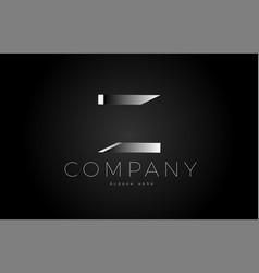 z black white silver letter logo design icon vector image