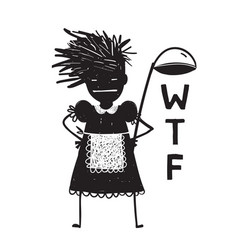 angry woman cook asking hands on hips vector image