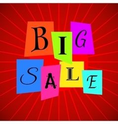 Big Sale Words from Color Paper over Red vector image