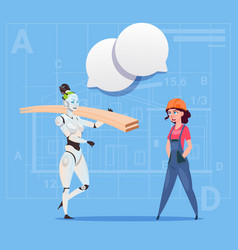 cartoon female builder working with robot carry vector image vector image