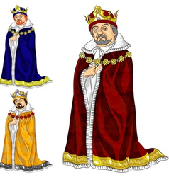 Cartoon king in three colors vector