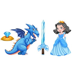 Fairytales set with princess and dragon vector image