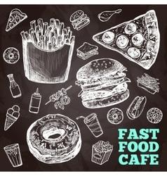 Fast Food Chalkboard vector image vector image
