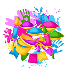 happy holi colorful background of vector image