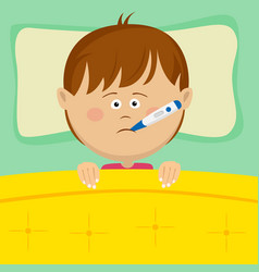 little sick boy with thermometer lying in bed vector image