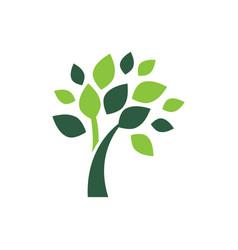 minimalist green tree logo symbol vector image vector image
