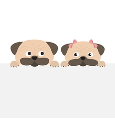 Pug dog mops set Boy and girl Cute cartoon vector image