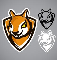squirrel shield brown logo emblem vector image vector image