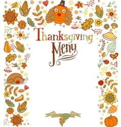 Thanksgiving menu card vector image vector image