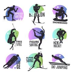 winter sports emblems set vector image