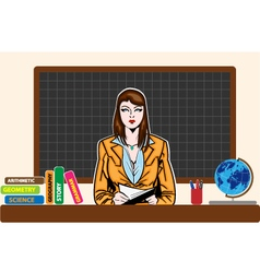 Young teacher woman on board vector image
