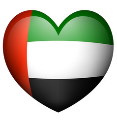 arab emirates flag in heart shape icon vector image vector image