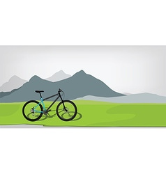 Bicycle in mountan landscape vector image vector image