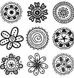 Collection of doodle flowers vector image