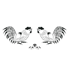 Fighting of black roosters on a white background vector image vector image