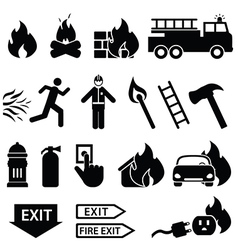 Fire fighters icons vector image vector image