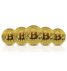 five gold coins bitcoin vector image