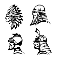 Knight viking samurai and native indian icons vector image vector image
